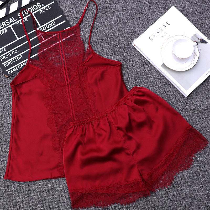 Lace Sexy Beauty Back Shorts Style Pajamas Sets Women Female Sleep Set Women's Deep V-neck Sexy Spaghetti Strap Shorts Sleepwear