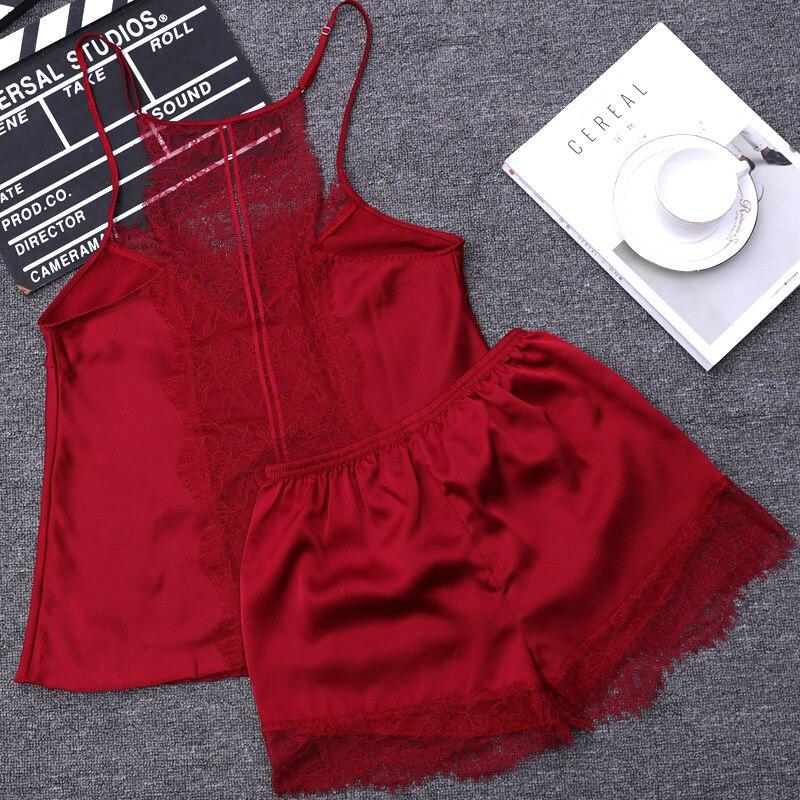 Lace Sexy Beauty Back Shorts Style   Pajamas     Sets   Women Female Sleep   Set   Women's Deep V-neck Sexy Spaghetti Strap Shorts Sleepwear