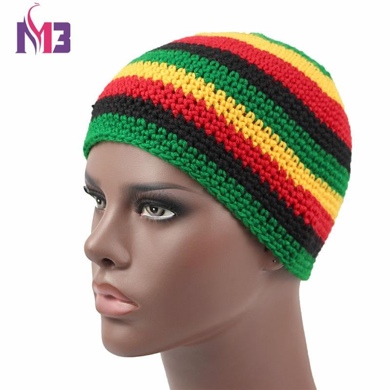 Unisex Casual Women Men Knitted Rasta Hat Winter Warm Handmade Crochet Hats Jamaica Beanie Caps Bob Marley Rasta Reggae Hat 2016 men women jamaican rasta hat dreadlocks wig marley caribbean fancy dress prop unisex knitted beanie hat handmade reggae cap
