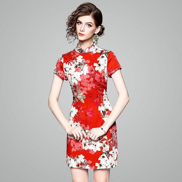 2b164541661 2018 Women s Slim Chinese Fashion Evening Party Printing Modern Cheongsam  Qipao Dress Female Summer Traditional Oriental Dresses