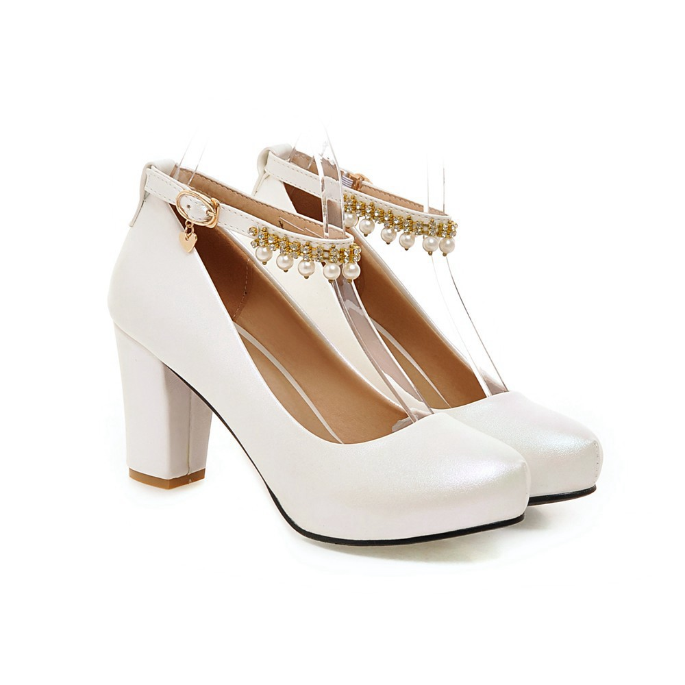 2017 Chunky High Heeled Pink Bridal Wedding Shoes Beaded White Female Buckle Elegant Pumps Silver Gold20