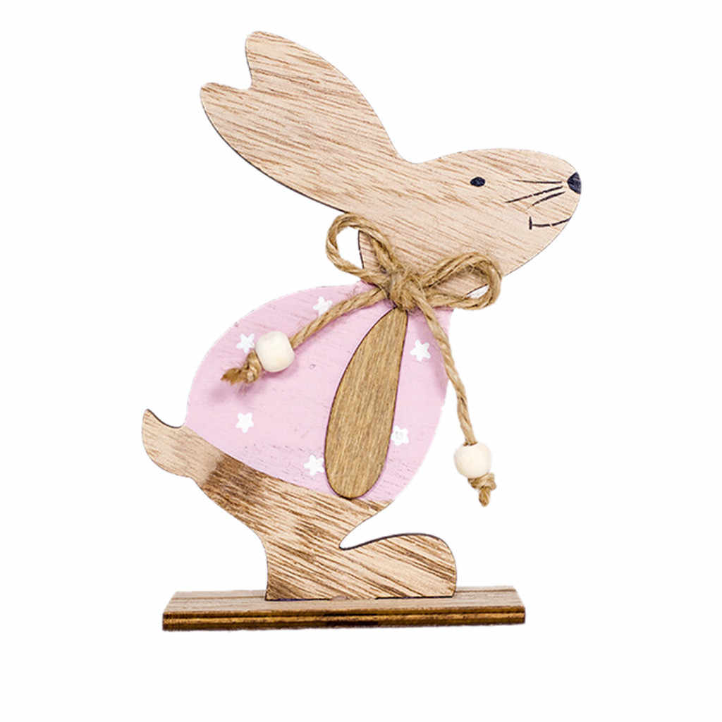 Easter decorations wood Easter rabbit 3 types with easter egg ribbon stand decoration 2019 New Arrival diy Ornament zakka hot