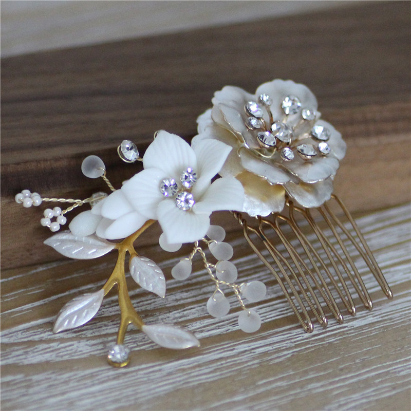 Image 3 - Jonnafe Gold Color Wedding Hair Comb Pins Delicate Porcelain Flower Bridal Headpiece Women Prom Hair Accessories-in Hair Jewelry from Jewelry & Accessories
