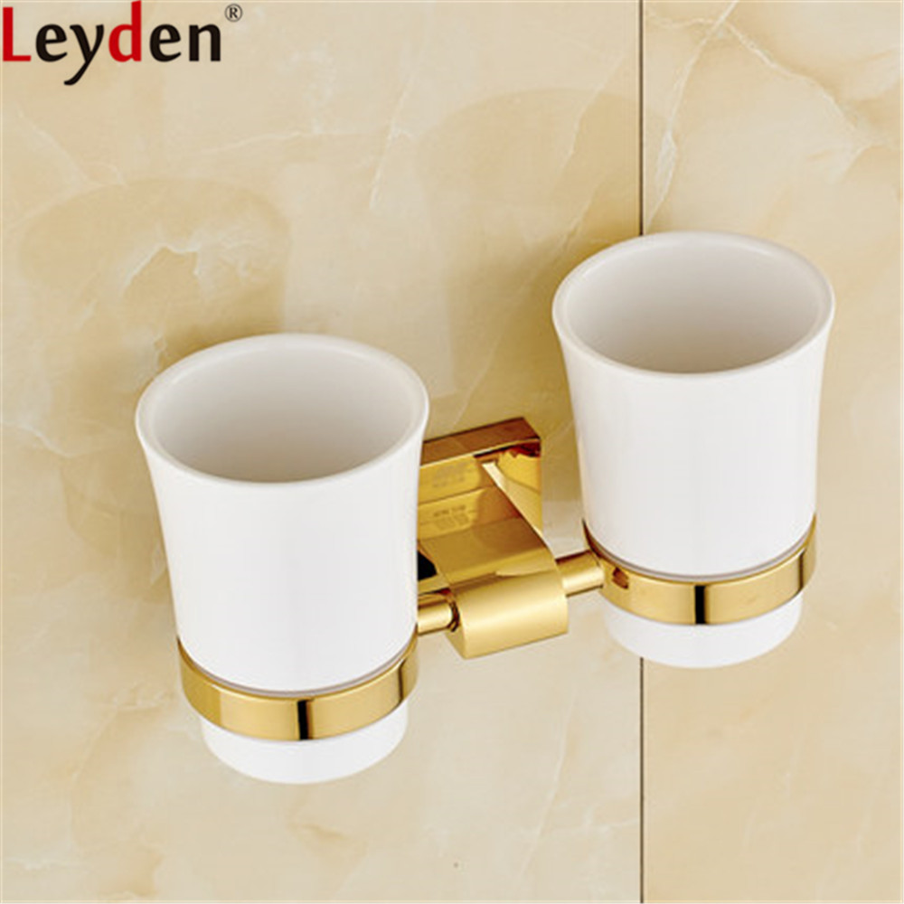 Leyden Double Toothbrush Holders Golden Brass Wall Mounted Creamic Tooth Cup Brush Holders For Bathroom Accessories image
