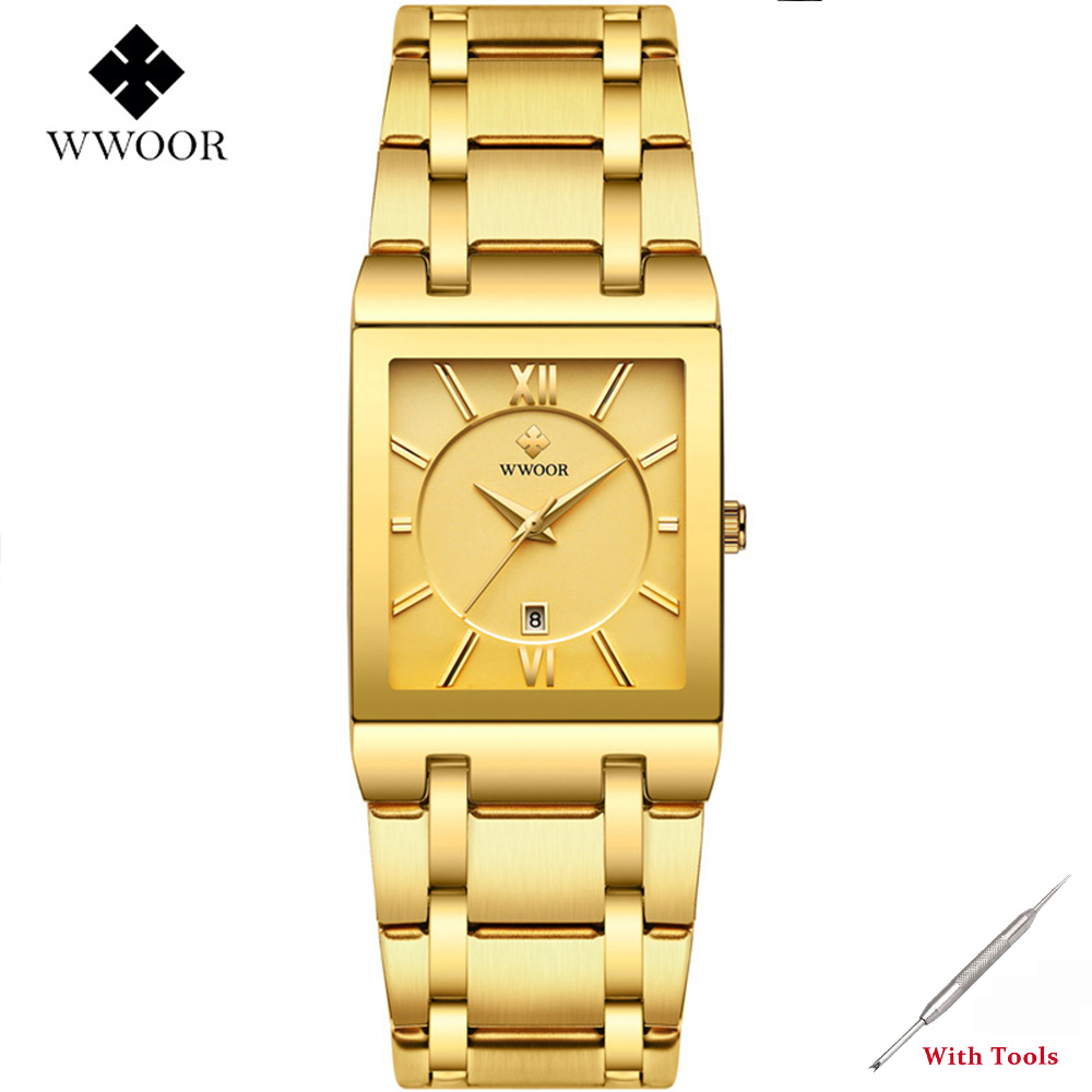 Mens Watches Golden Square Quartz Wristwatch For Men Watch WWOOR 8858 Luxury Man Business Date Watch Gifts Erkek Kol Saati