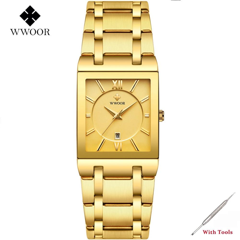 Mens Watches Golden Square Quartz Wristwatch For Men Watch WWOOR 8858 Luxury Man Business Date Watch Gifts Erkek Kol Saati