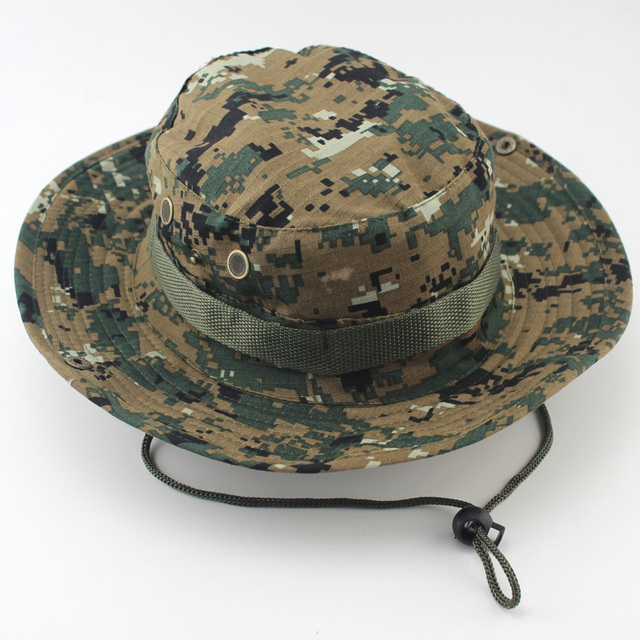 Military Camouflage Boonie Hat High Quality Outdoor Bucket Hats Hunting Hiking Fishing Climbing ARMY MULTICAM HAT 26 Colors AE1 5