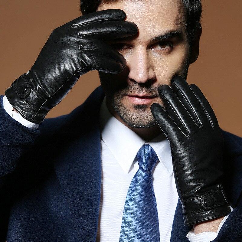 Men 39 s Genuine Leather Gloves Real Sheepskin Black Touch Screen Gloves Button Fashion Trend Winter Warm Mittens BM001 in Men 39 s Gloves from Apparel Accessories