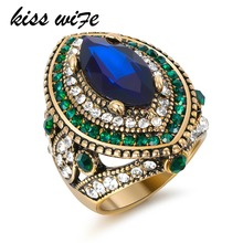 KISS WIFE Luxury Big Turkish Ring Vintage Wedding Rings For Women Gold Color Mosaic Green Crystal Engagement Party Jewelry New A