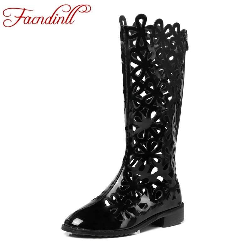 FACNDINLL summer shoes women gladiator sandals knee high boots sexy cut-outs patent leather thick platform wedge summer boots patent leather knee high fashion women boots buckle strap cool motorcycle boots thin high heels cut outs sandals boots shoes