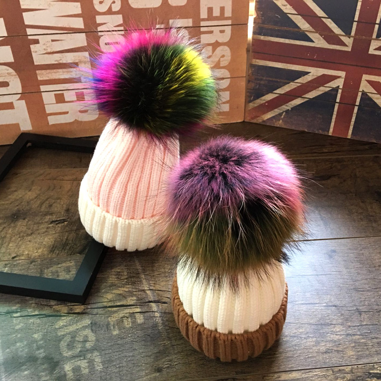 Mother And Kids 2017 Winter Caps Fur Pom Poms Hats For Women Faux Fur Beanies Wool Knitted Pompom Hat Baby Boys Girls Skullies