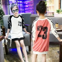 Kids Girls Spring Autumn T-shirt with Long Sleeves Children's Letter Printed Long Shirts Dress Clothes for Girls 10 14 Years Old недорого