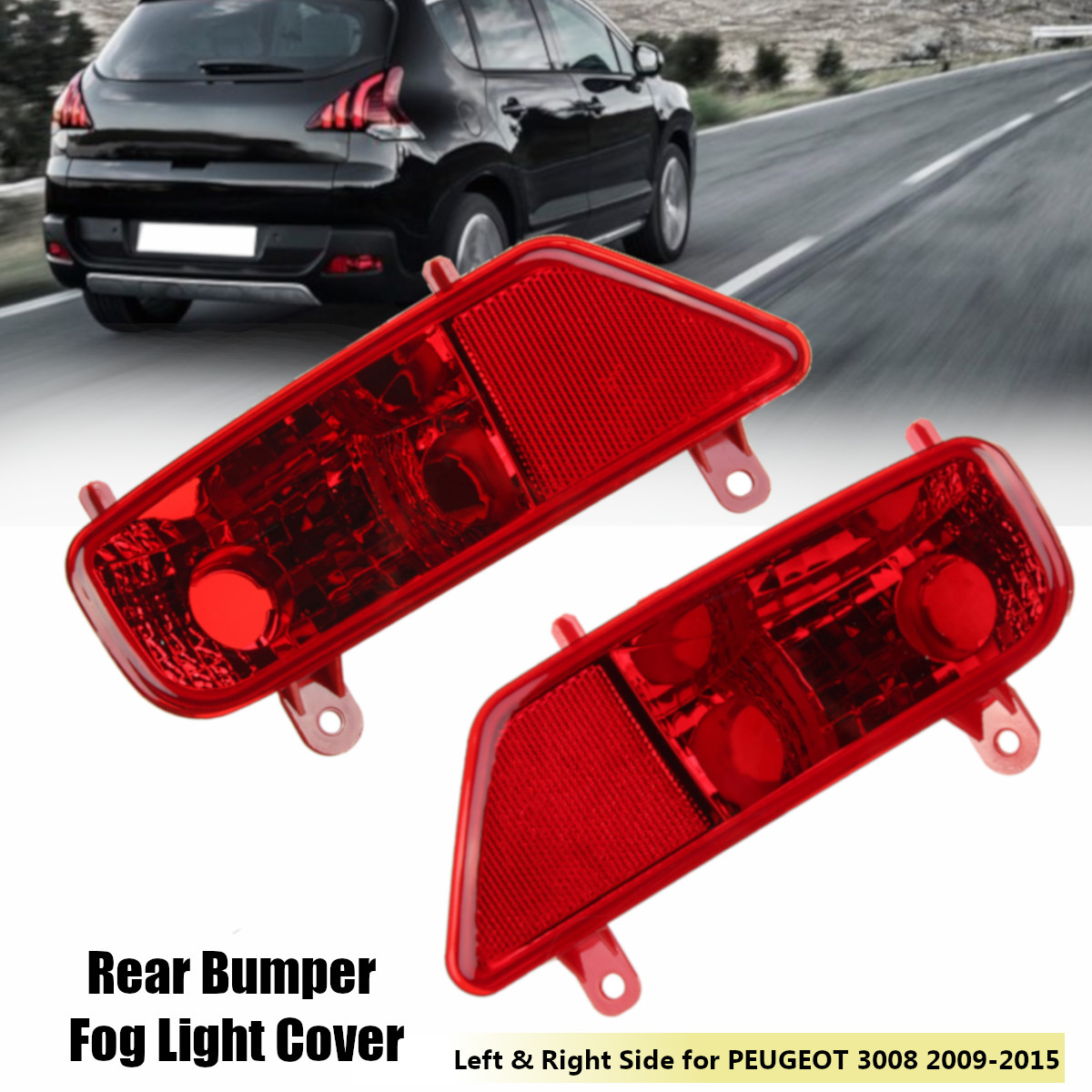 2X Car Rear Left Right Bumper Fog Light Lamp Cover Case Box No Light For PEUGEOT 3008 2009 2010 2011 2012 2013 2014 2015 5.0 2 R image