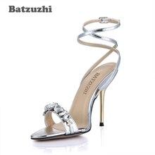 01d62c192 Batzuzhi Nova Verão Mulheres 10 cm Ferro Senhoras Bombas de Alta Saltos  Sandálias Sapatos de Casamento