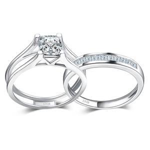 Image 2 - JPalace 2ct prenses nişan yüzüğü seti kadınlar için 925 ayar gümüş yüzük alyanslar kanal gelin seti gümüş 925 takı