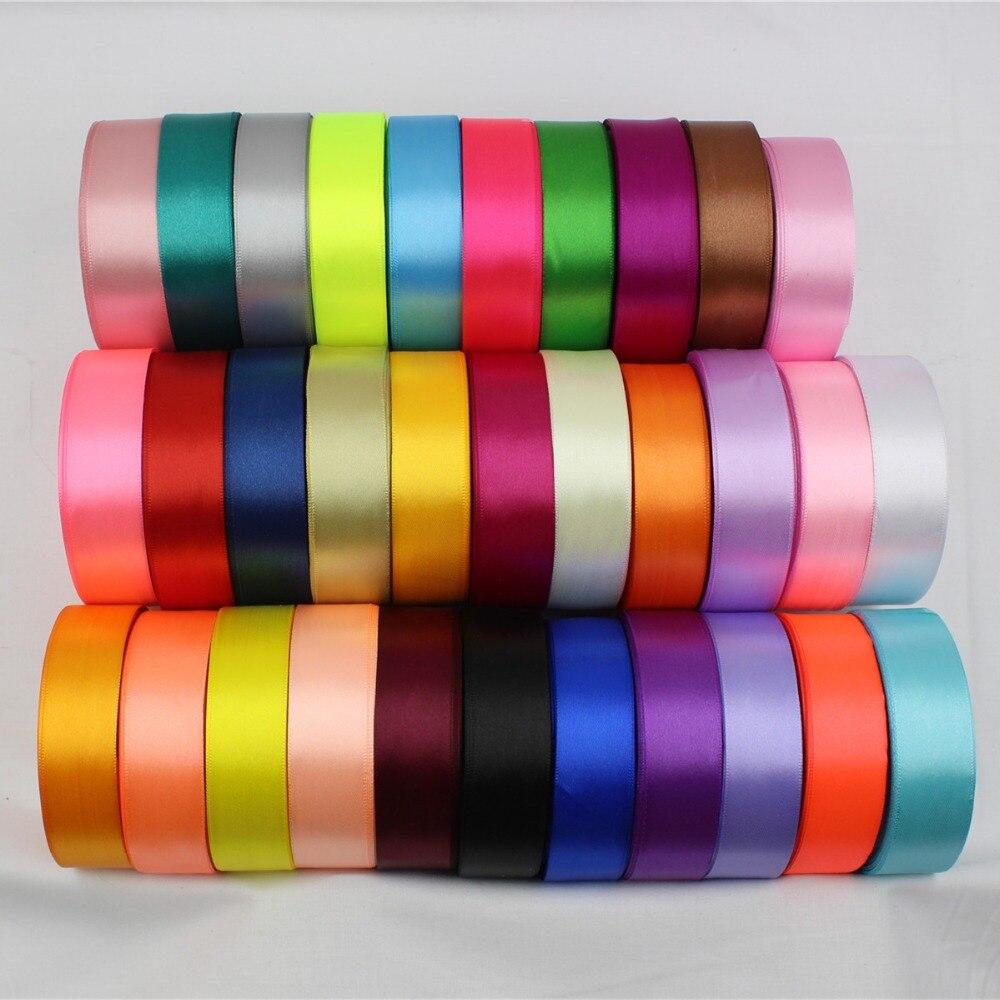 16695-B, 25 мм 32 Цвет можно выбрать 25 ярдов шелковые, атласные ленты, свадебные декоративные ленты, подарочная упаковка, DIY материалы ручной работы