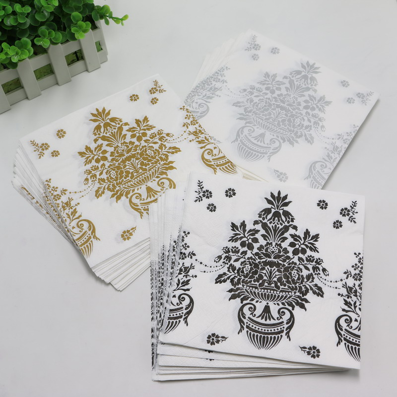 20pcslot birthday party wedding party decorative vintage flower paper napkins party supplies black silver - Decorative Paper Napkins