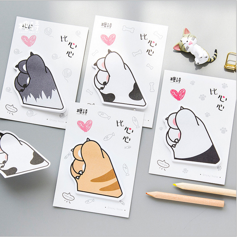4pcs/lot kawaii Creative Love cat claw stickers weekly plan Sticky Notes Post Memo Pad Korean stationery School Supplies gift