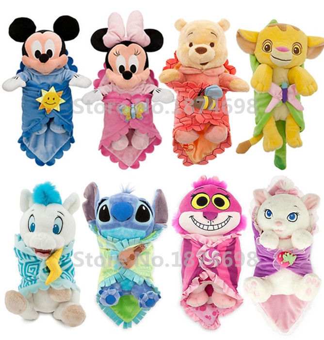 Cute Babies Baby Mickey Minnie Mouse Stitch Simba Marie Bear Gorilla Hercules Pegasus with Blanket Plush Toy Doll Children Gifts soccer balls size 4