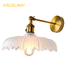 Glass Wall Lamp Modern Transparent Sconce Lighting Nordic Light Copper Lights Clear Lampshade Retro For Bedroom