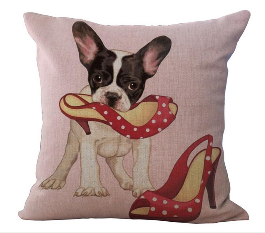 Cute Dog Pillow Cover Pink animal Linen Cotton Home Decor Cushion Cover Throw Pillow Pillowcase ...