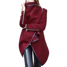 Hot Sale Women irregular Bow Zipper Long Sleeve Warm Coat New Fashion Winter Wool