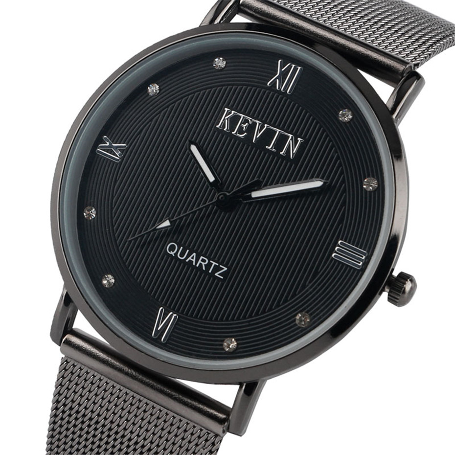 KEVIN Unique Black Dial Wrist Watch Men Mesh Stainless Steel Band Men's Watches Quartz Casual Male Clock Gifts 2018 New Arrival kevin vintage paris eiffel tower dial wrist watch women ladies girl quartz watches gift for girlfriend black strap clock hot