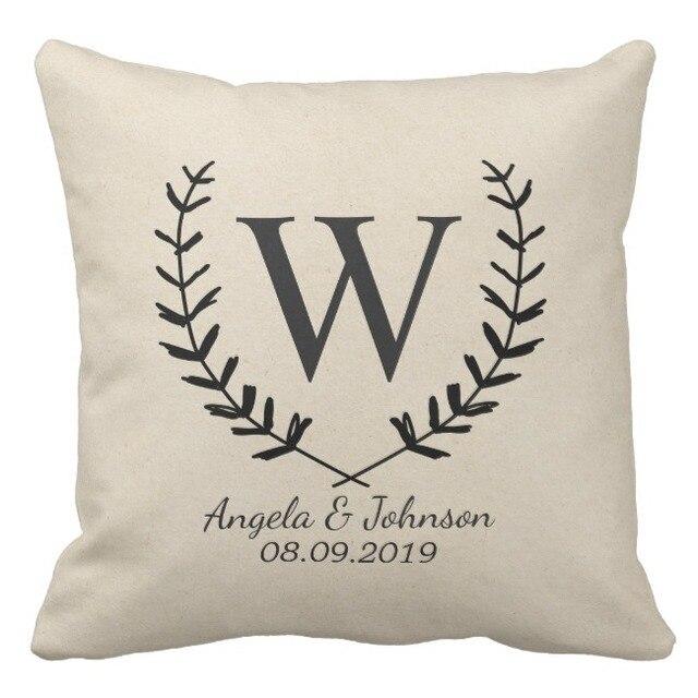 Monogram Cotton Custom Cushion CoverWreath Name Wedding Pillow Interesting Monogrammed Decorative Throw Pillows