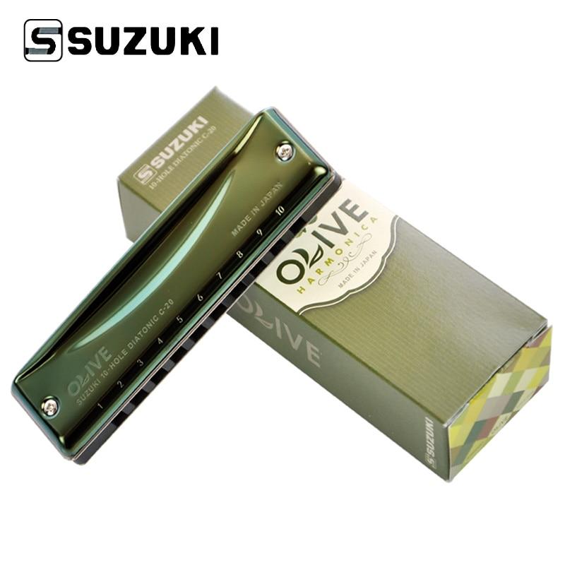 Suzuki C 20 Olive 10 Hole Diatonic Harmonica Green Professional Blues Diatonic Harp10 Holes Musical Instrument