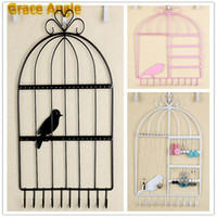 1PCS Economic Bird Cage Iron Earrings Necklace Display Jewelry Wall Mount Stand Holder 40Holes 10Hooks Pink
