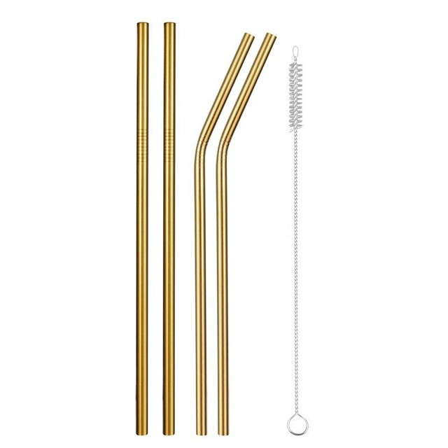 Reusable Metal Drinking Straws with Cleaning Brush