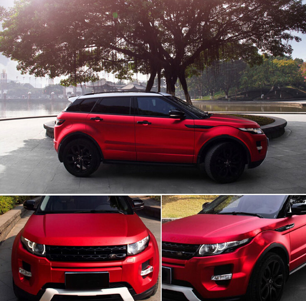 Red Premium Car Satin Matte Chrome Plating Vinyl Wrap Sticker Sheet Air Release 20
