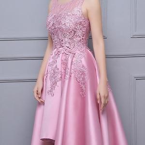 Image 5 - DongCMY Asymmetrical Prom Dress Vestido Lace Satin Dress Elegant Formal Party Dress Gowns