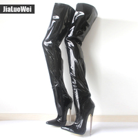 IN STOCK 6 1 4 Solid Brass Heel Plain Stretch Crotch Thigh High Boot Black Plus