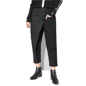 Image 5 - [EAM] ربيع جديد 2020 أسود فضفاض عالية الخصر شقة مرونة الخصر النساء الموضة المد واسعة الساق الكاحل طول السراويل OA870