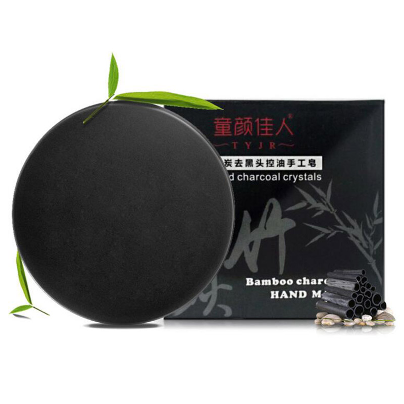 Natural Bamboo Charcoal Soap Skin Whitening Blackhead Remover Acne Treatment Oil Control Soaps Skin Care 40g