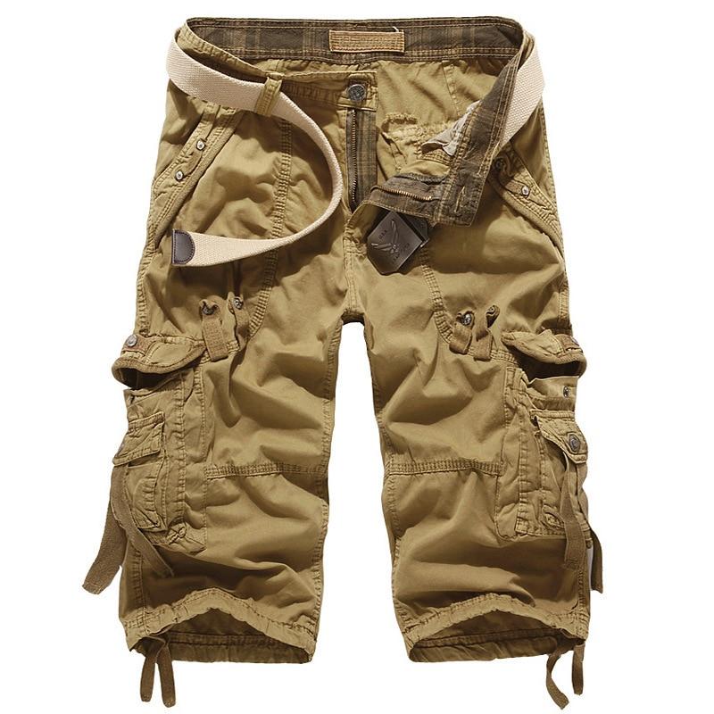 Summer Cargo Shorts Men Cotton Casual Outdoor Military Men's Shorts Multi-pocket Calf-length Short Pants Men