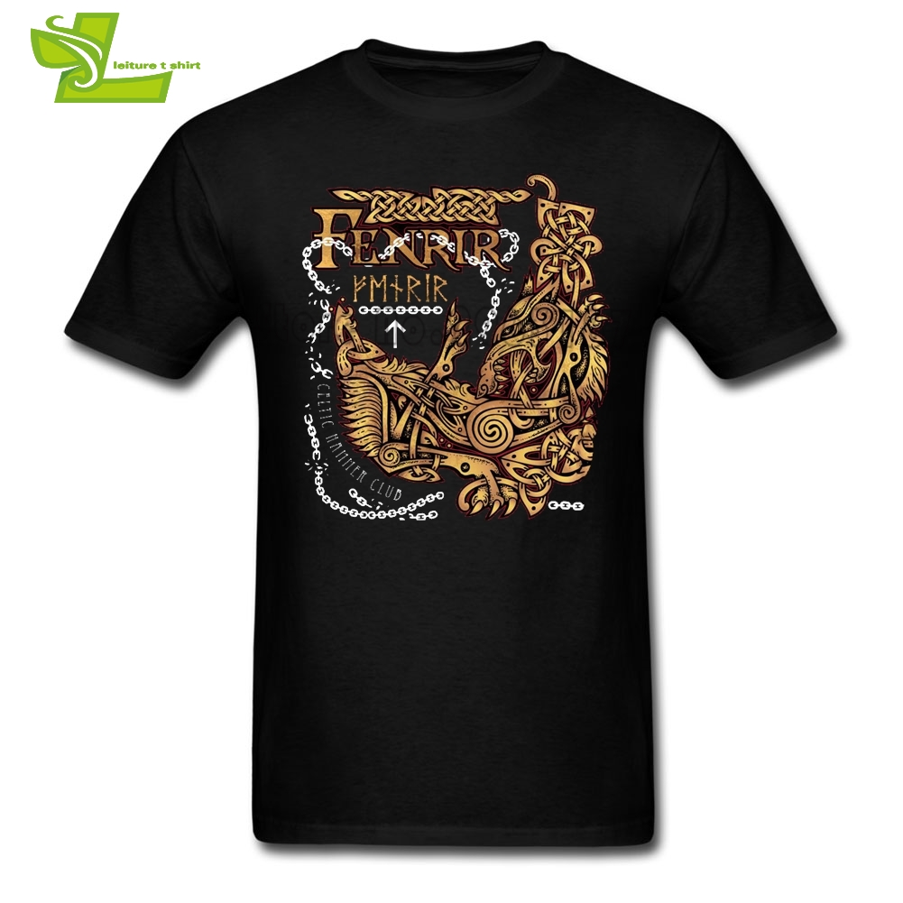 Fenrir Ragnarok Viking Monster Wolf T Shirt Adult Newest Simple Camisetas Home Wear Loose T-Shirt Man Short Sleeve Cheap Dad Top