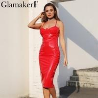 Glamaker Sexy Deep V Neck Halter Leather Dress Women Back Split Zipper Mini Christmas Dress Female