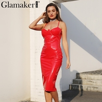 Glamaker Sexy Deep V Neck Halter Leather Dress Women Back Split Zipper Mini Christmas Dress Female