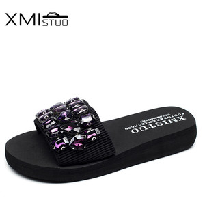 Image 3 - XMISTUO Fashion Women Handmade Sandals Solid Diamond Female Summer Beach Water Resistant 3CM Low Heeled Slippers 9 Color 7167
