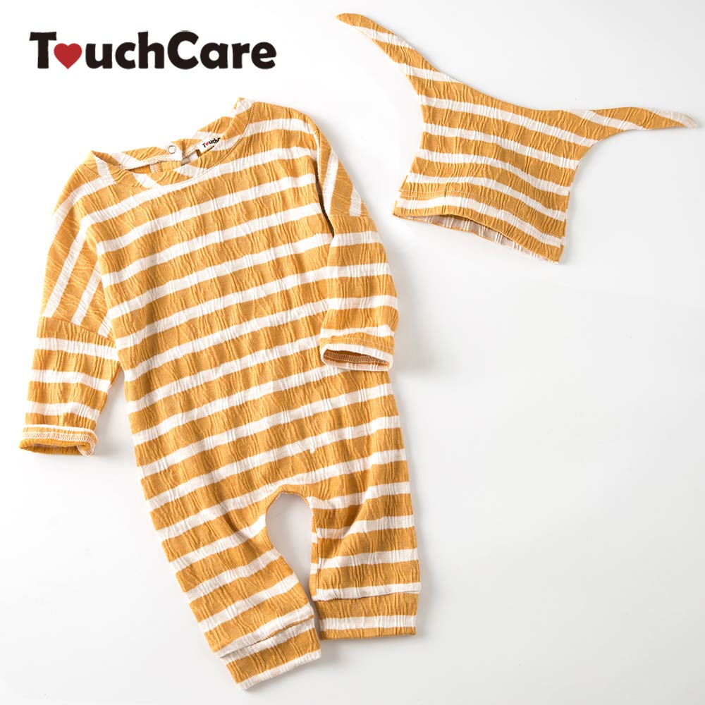 Clearance Brand New Spring Stripe Baby Rompers With Hat Cute Halloween Pajama Infant Boys Girls Cotton Jumpsuits Autumn Cloth