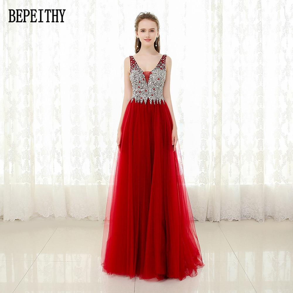 BEPEITHY Vestido De Festa nouveauté robe De bal élégante col en v rouge Tulle perles a-ligne longues robes De soirée 2019
