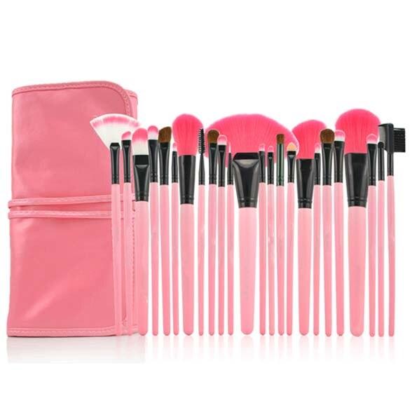 24 Pièces Rose Comestic avec le Sac De Mode Accessoires de Maquillage Professionnel Brosses Outils Fondation Brosse Ensembles et Kits de Haute Qualité