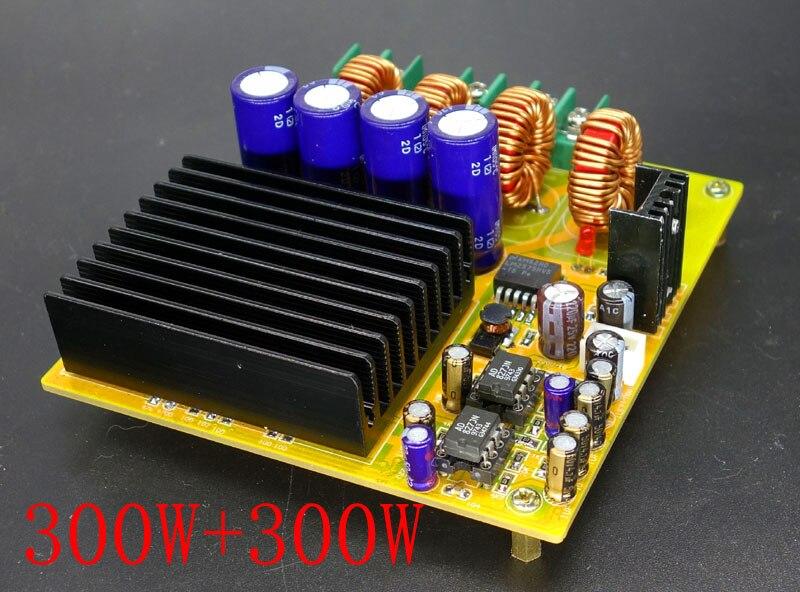 free shipping 2x300W TAS5630 dual channel Class D digital power amplifier board with AD827 pre amplifier