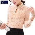 2017 Новый стиль Моды Сексуальный Цветок Из Бисера кружева Топы Женщины Шифон блузка с длинным рукавом Повседневная рубашка Лоскутная Женщины clothing