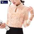 2017 New style Fashion Sexy Flower Beaded lace Tops Women Chiffon blouse long sleeved Casual shirt Patchwork Women clothing