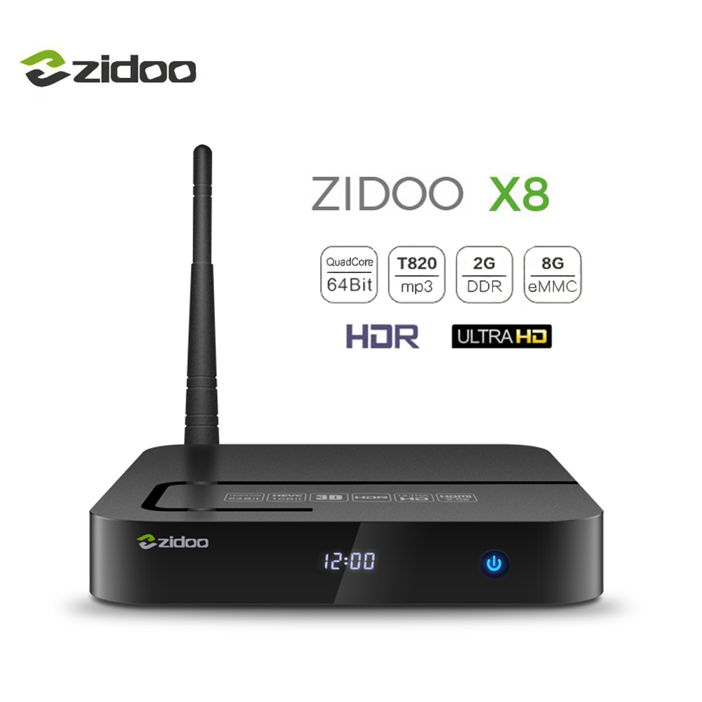 ZIDOO X8 Android 6.0 TV Box 4K HDMI 2.0 HDR IPTV Set top Box 2GB DDR3+8GB eMMC 4G/5G Dual Wifi Quad- core Smart TV Media Player zidoo h6 pro android nougat 4k 10bit hdr tv box allwinner ddr4 2gb emmc 16gb ac wifi 1000m lan dolby digital dts hd