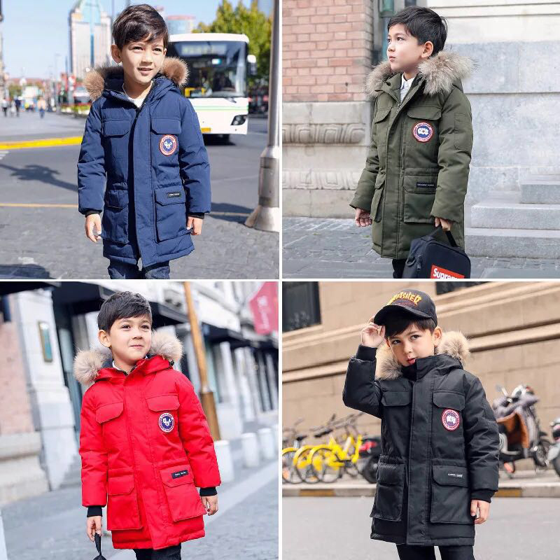 XYF1728 Winter White Duck Down Jacket Child Solid color Hooded Keep Warm Thick Coat Girls Long Outerwear Boys Windbreaker