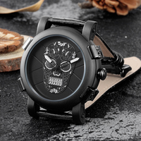 Skone Classic Cool Skull Watches Men Luxury Brand Quartz Wristwatch Casual Style Leather Strap Military Watch